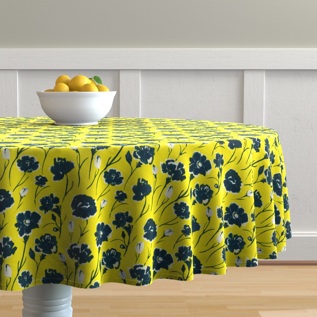 Malay Round Tablecloth featuring wildflowers - blue by alison_janssen
