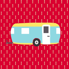 Roughing It Campers Red Fat Quarter
