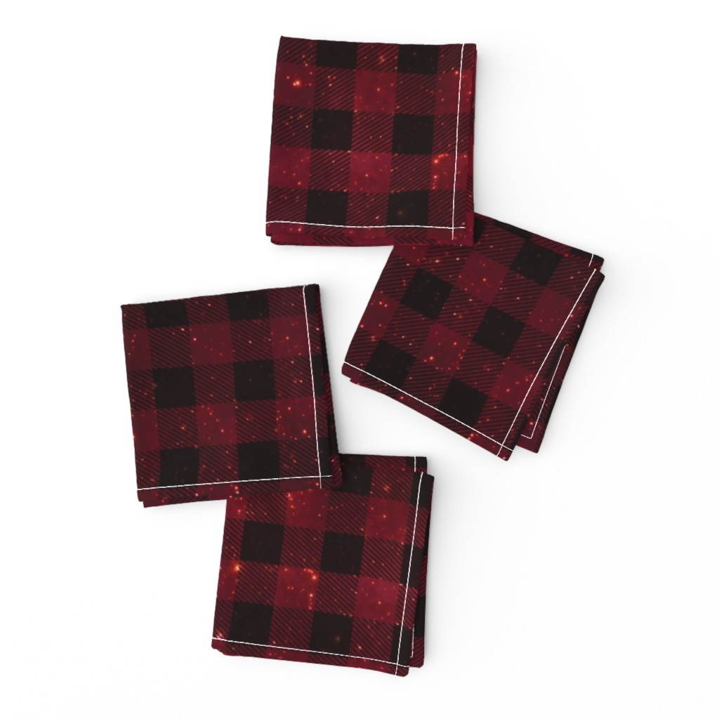 Frizzle Cocktail Napkins featuring Red galaxy plaid  by aspie_giraffe
