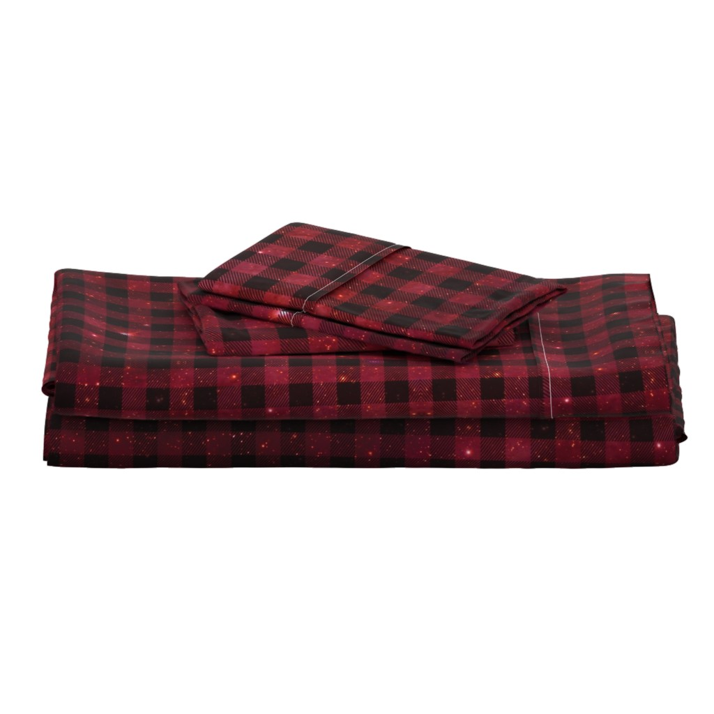 Langshan Full Bed Set featuring Red galaxy plaid  by aspie_giraffe