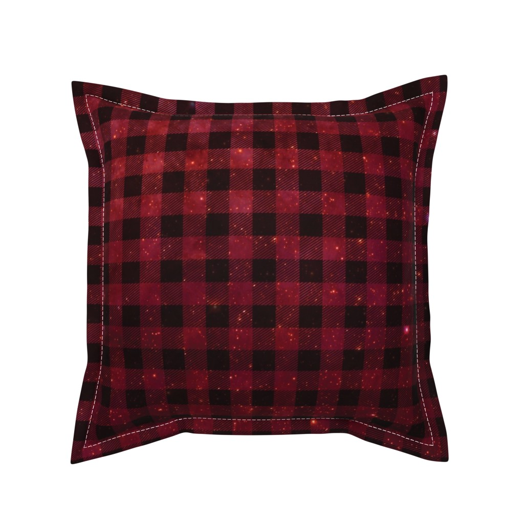 Serama Throw Pillow featuring Red galaxy plaid  by aspie_giraffe