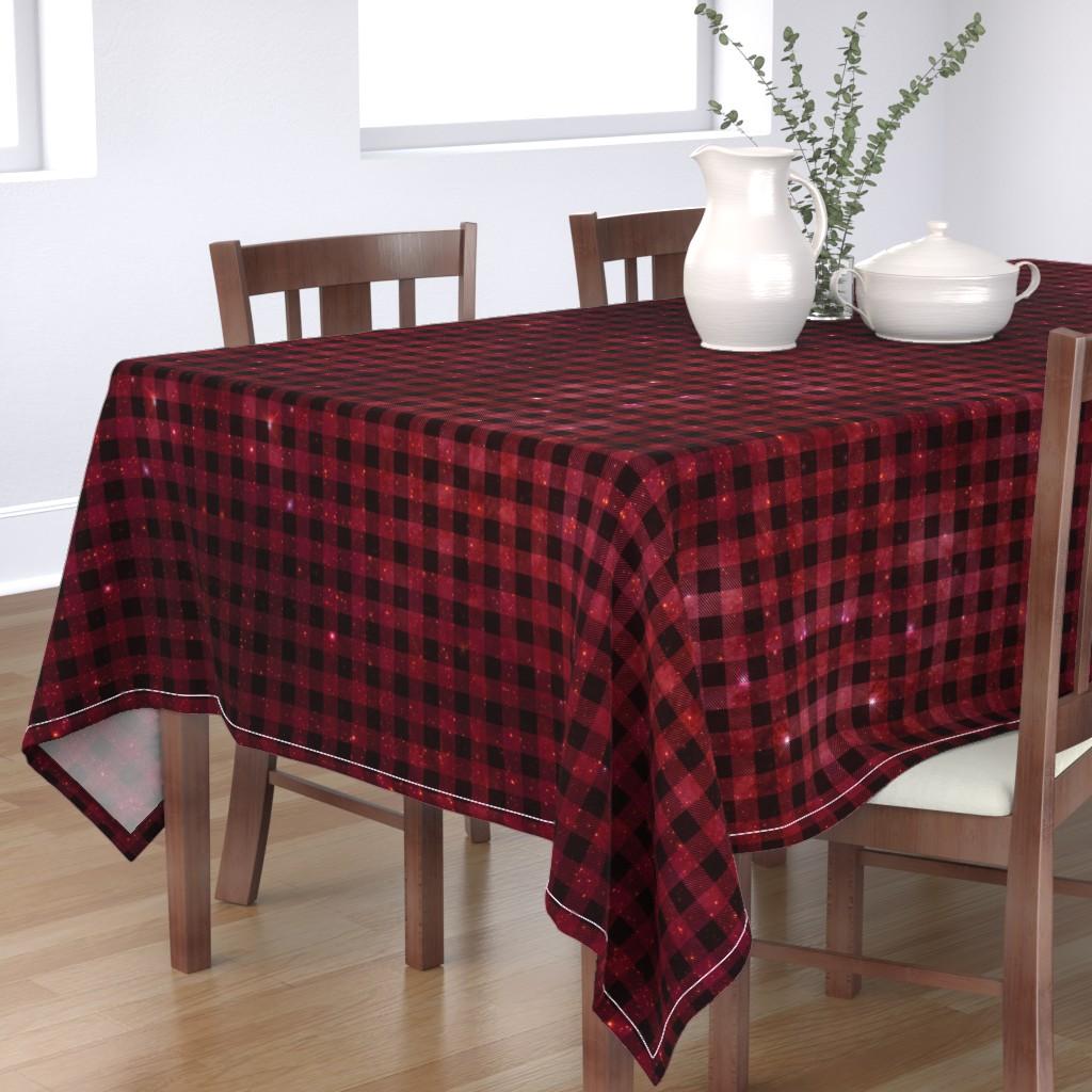 Bantam Rectangular Tablecloth featuring Red galaxy plaid  by aspie_giraffe