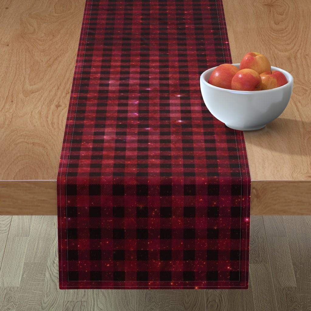 Minorca Table Runner featuring Red galaxy plaid  by aspie_giraffe