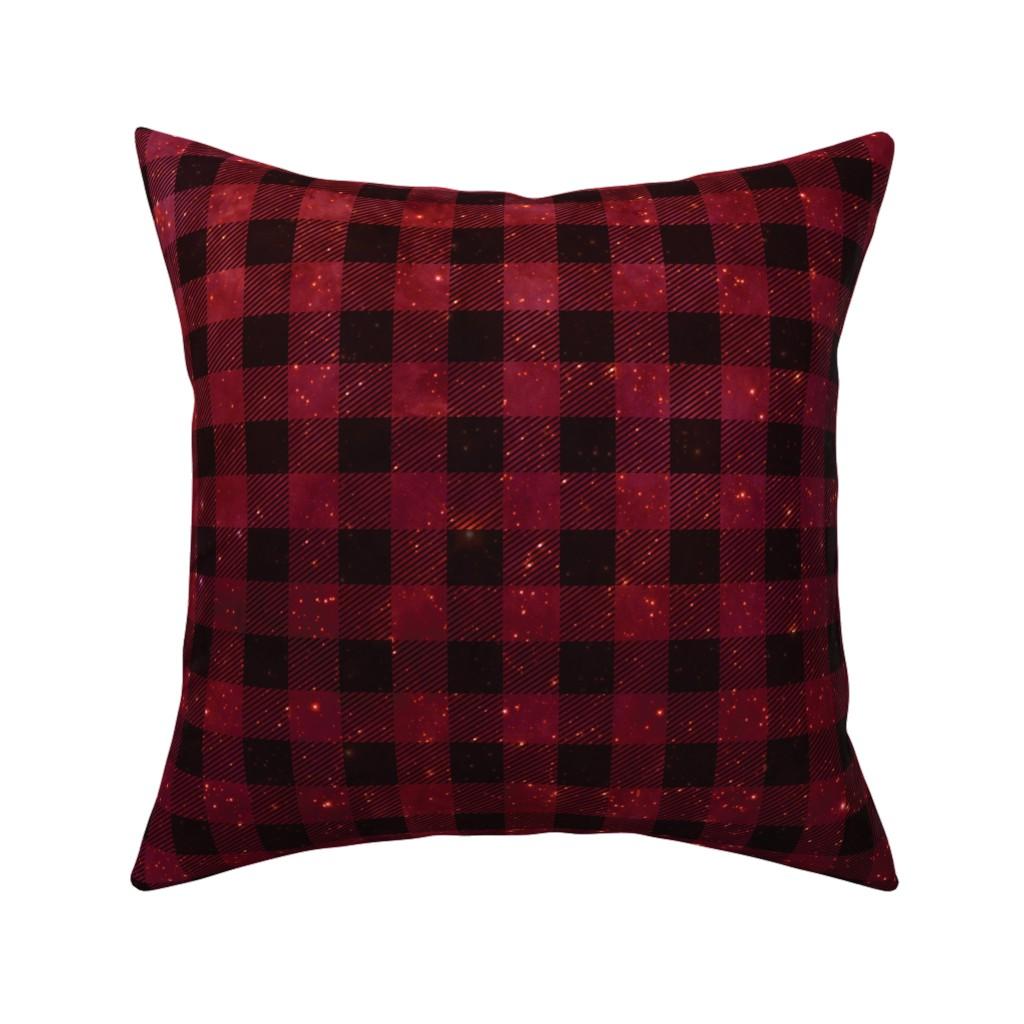 Catalan Throw Pillow featuring Red galaxy plaid  by aspie_giraffe