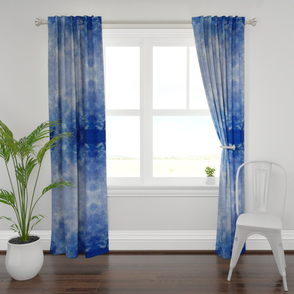 Plymouth Curtain Panel featuring Blue galaxy  by aspie_giraffe