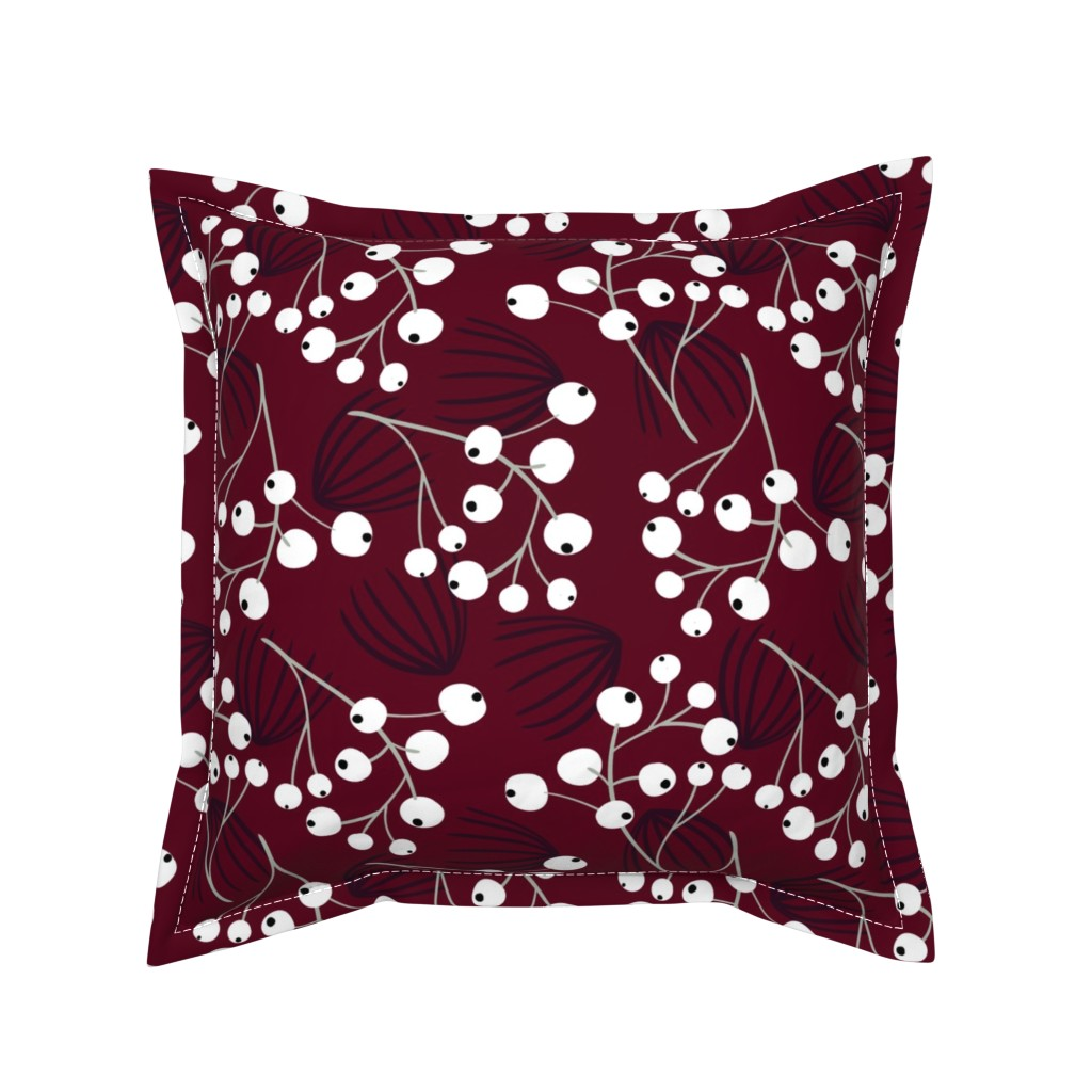 Serama Throw Pillow featuring Elegant Christmas Berries by melarmstrong