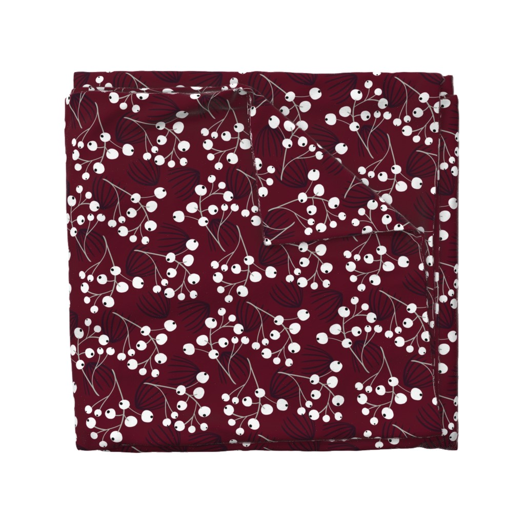 Wyandotte Duvet Cover featuring Elegant Christmas Berries by melarmstrong