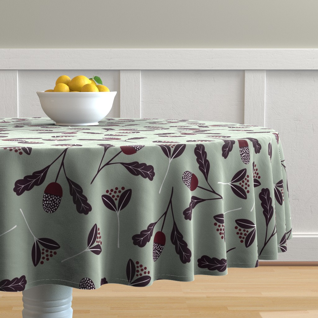 Malay Round Tablecloth featuring Elegant Christmas Florals by melarmstrong