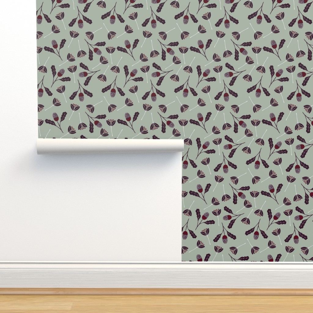 Isobar Durable Wallpaper featuring Elegant Christmas Florals by melarmstrong