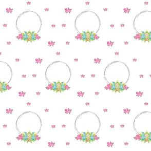 shabby rose twig wreath LG7 - mint pink bunch