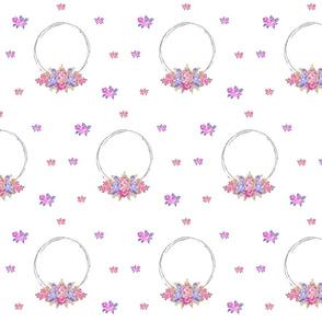 shabby rose twig wreath LG7 -lavender purple bunch