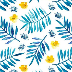 Watercolor palm leaf botanical tropical garden and blossom flowers gender neutral blue mustard