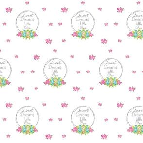 Sweet Dreams shabby rose twig wreath LG7- mint pink bunch