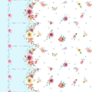 French Country - Floral, Dots and Blue Border