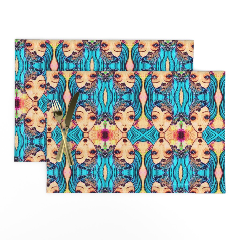 Lamona Cloth Placemats featuring Blue-Haired Sea Maiden by tomokosart