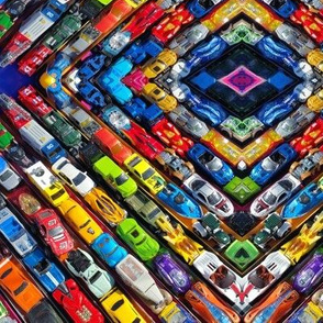 Toy cars in formation