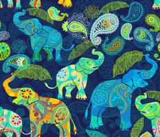 Asian Elephant Paisley Raindrops