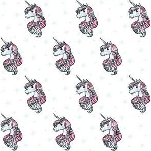 unicorn- white & baby blue - SMALL