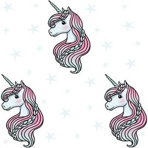 unicorn- white & baby blue - MEDIUM