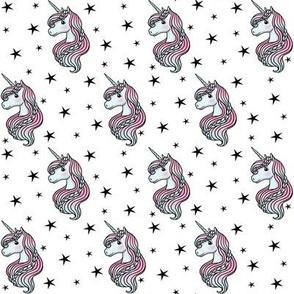 unicorn- white & black - SMALL