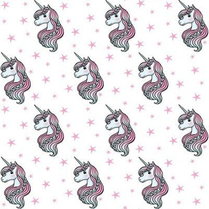 unicorn - white & bright pink - SMALL