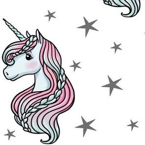 unicorn- white & dark gray - LARGE