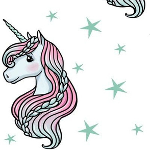 unicorn- white & dark teal - LARGE