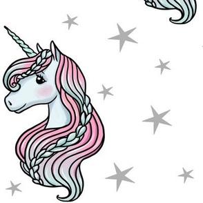 unicorn- white & gray - LARGE