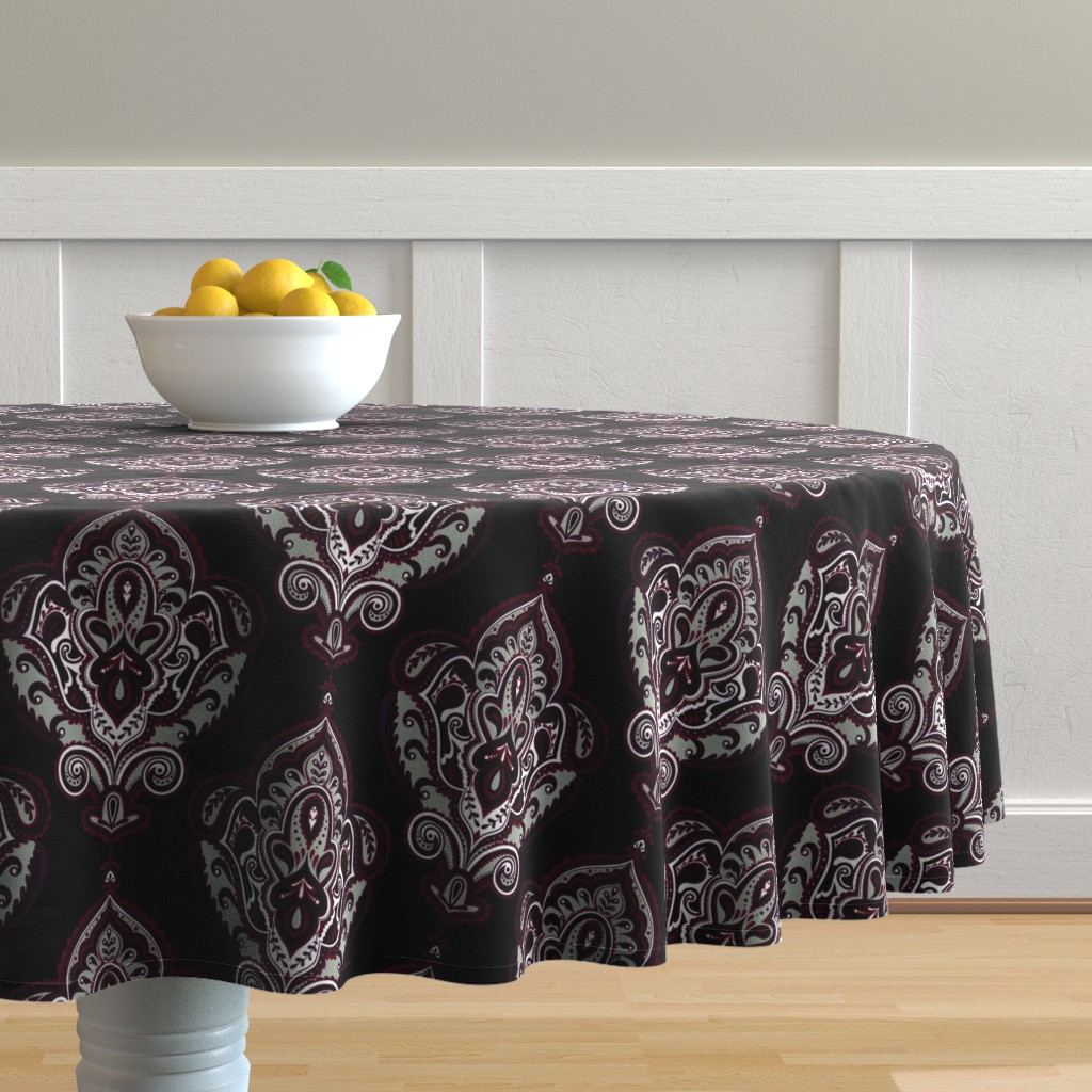 Malay Round Tablecloth featuring Elegant Holiday Limited Color Palette Damask and Coordinate by jadegordon