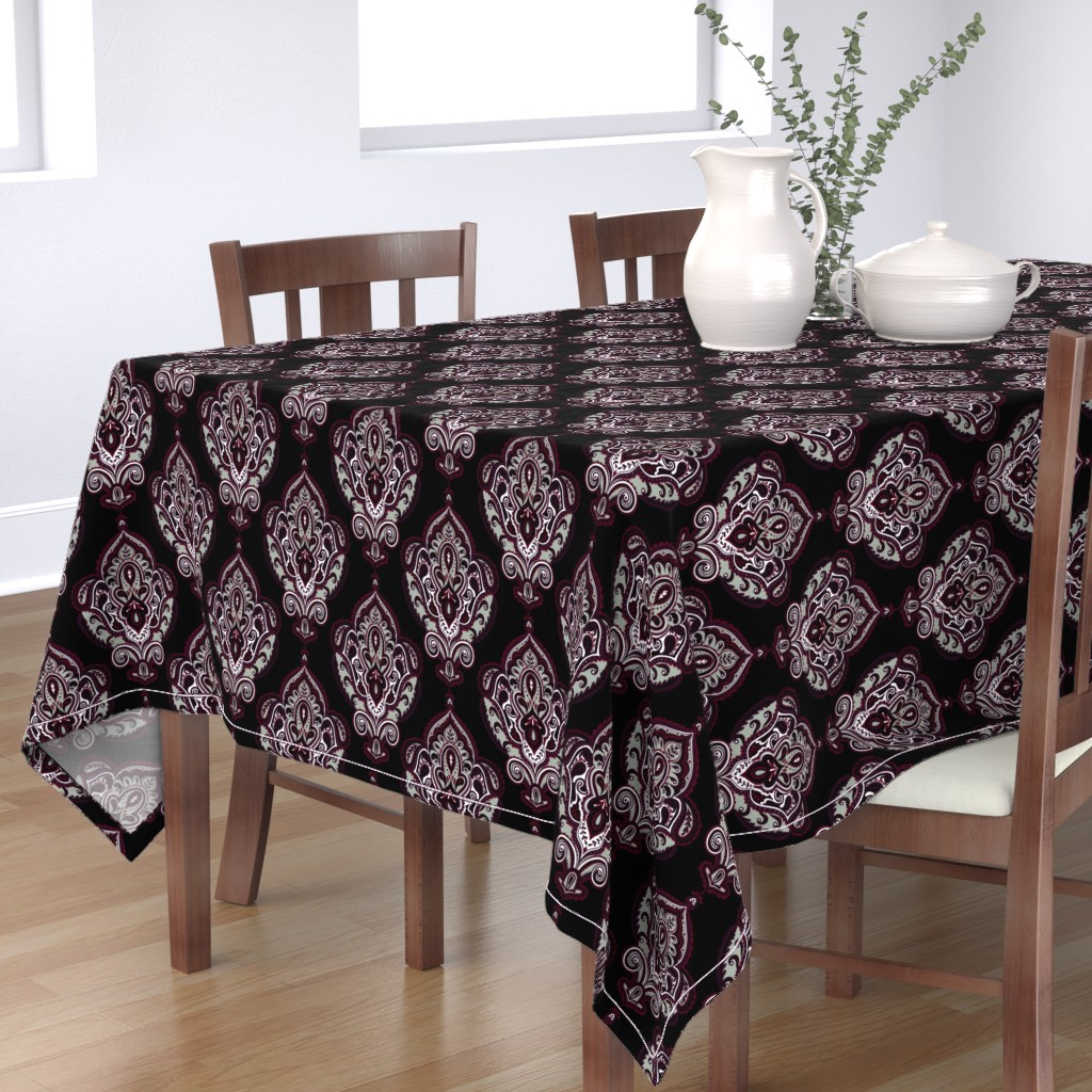 Bantam Rectangular Tablecloth featuring Elegant Holiday Limited Color Palette Damask and Coordinate by jadegordon