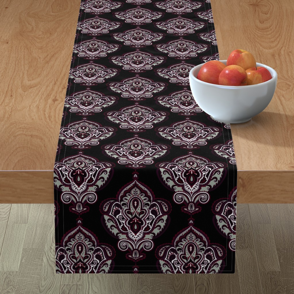 Minorca Table Runner featuring Elegant Holiday Limited Color Palette Damask and Coordinate by jadegordon