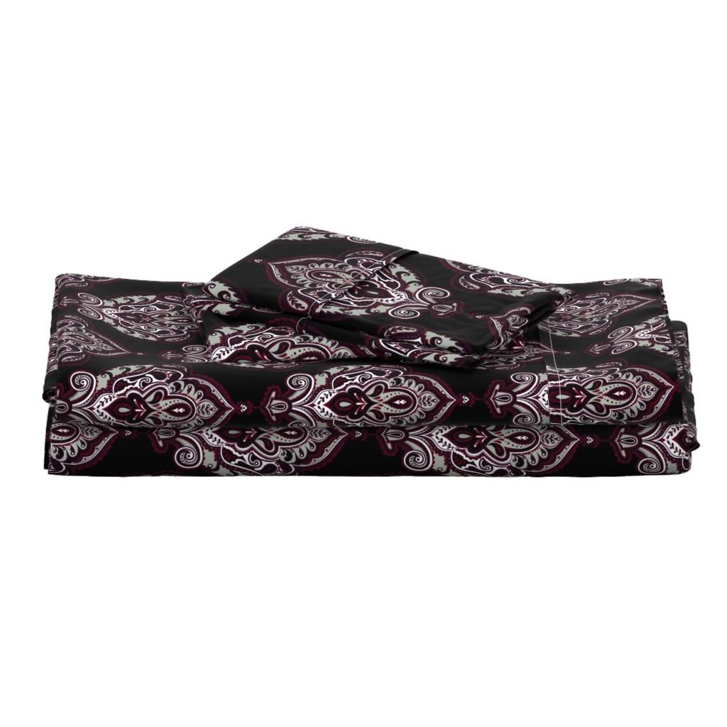 Langshan Full Bed Set featuring Elegant Holiday Limited Color Palette Damask and Coordinate by jadegordon