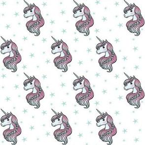 unicorn- white & teal - TINY