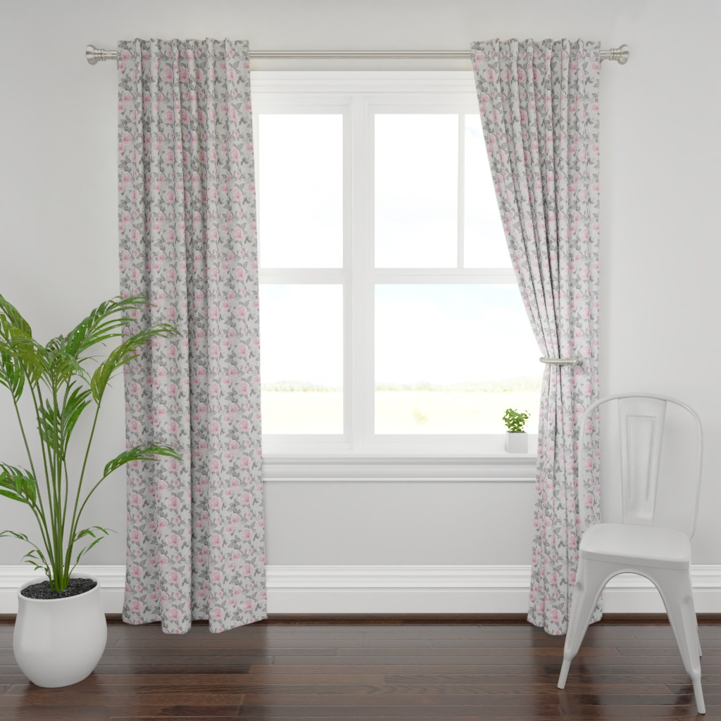 Plymouth Curtain Panel featuring Roses on gray by gribanessa