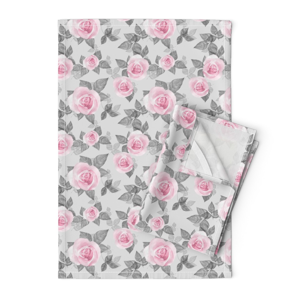Orpington Tea Towels featuring Roses on gray by gribanessa