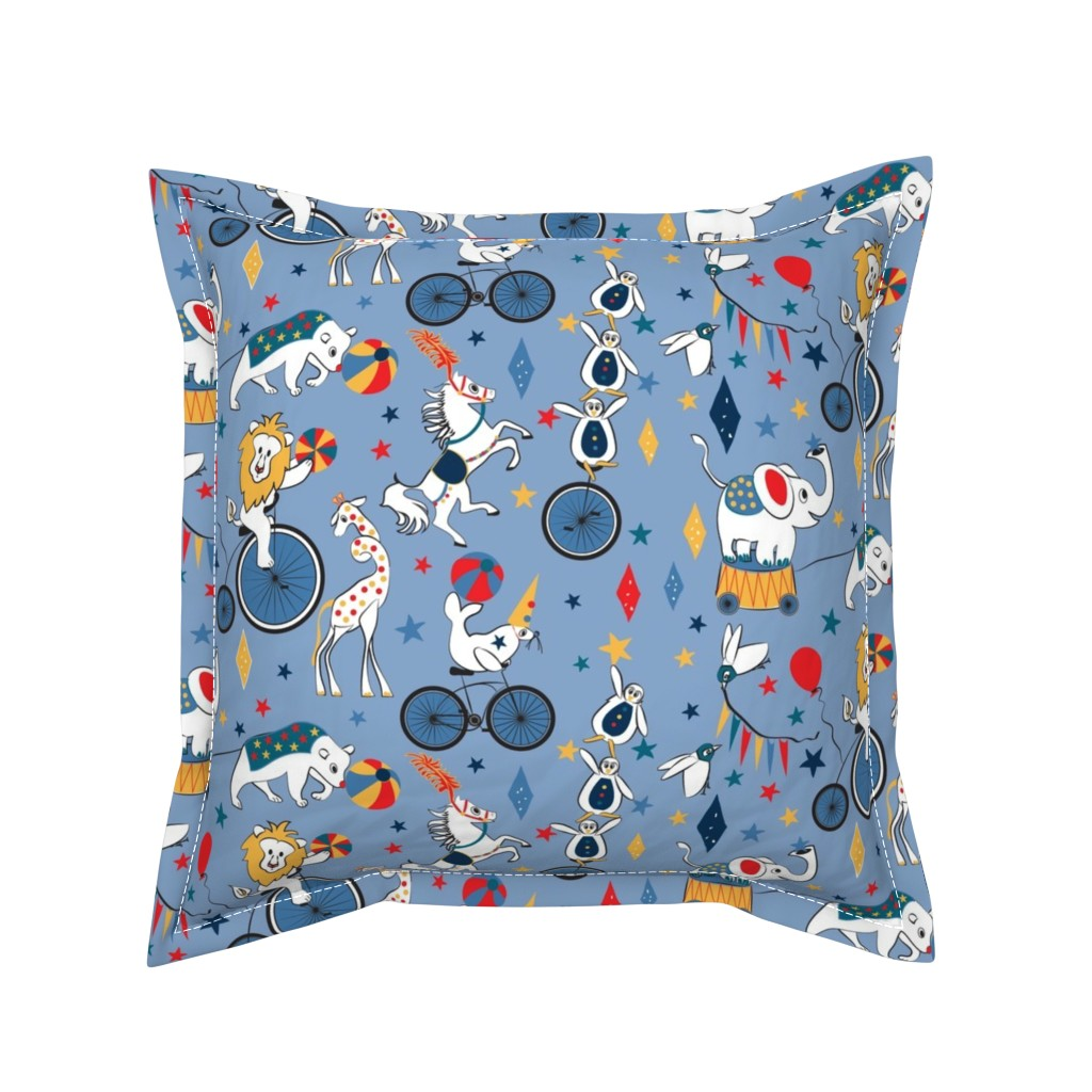 Serama Throw Pillow featuring Circus Cycle Parade by colour_angel_by_kv