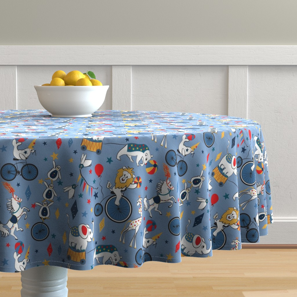 Malay Round Tablecloth featuring Circus Cycle Parade by colour_angel_by_kv