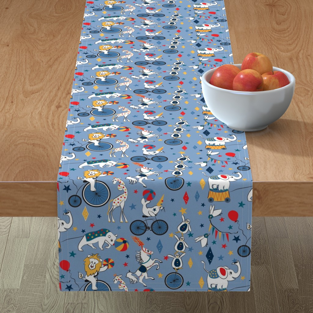 Minorca Table Runner featuring Circus Cycle Parade by colour_angel_by_kv