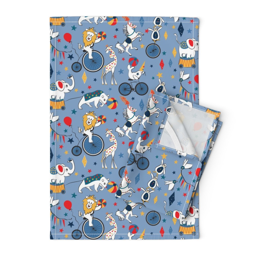 Orpington Tea Towels featuring Circus Cycle Parade by colour_angel_by_kv