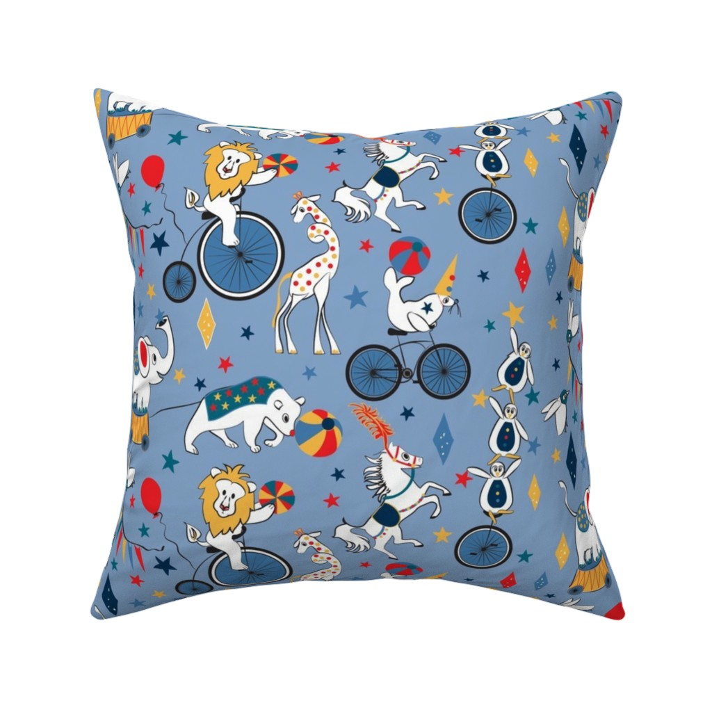 Catalan Throw Pillow featuring Circus Cycle Parade by colour_angel_by_kv