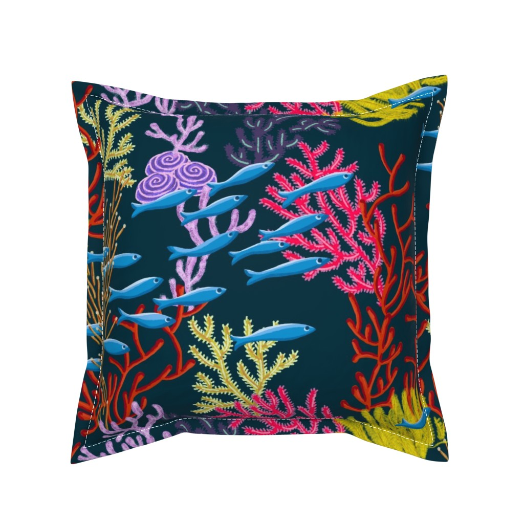 Serama Throw Pillow featuring Coral Reefer Madness by seesawboomerang