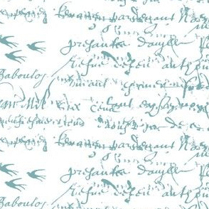 Teal French script on a white background