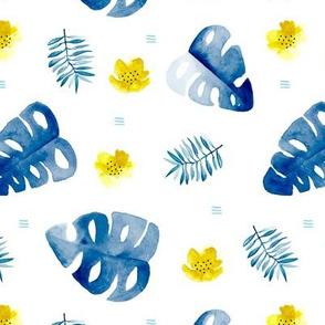 Watercolor monstera leaf botanical tropical garden and blossom flowers gender neutral blue mustard