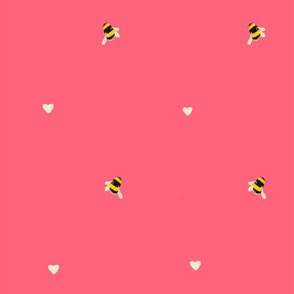 Bee and hearts on rich pink