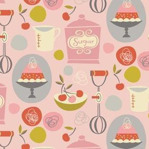 cherry bombe on pink