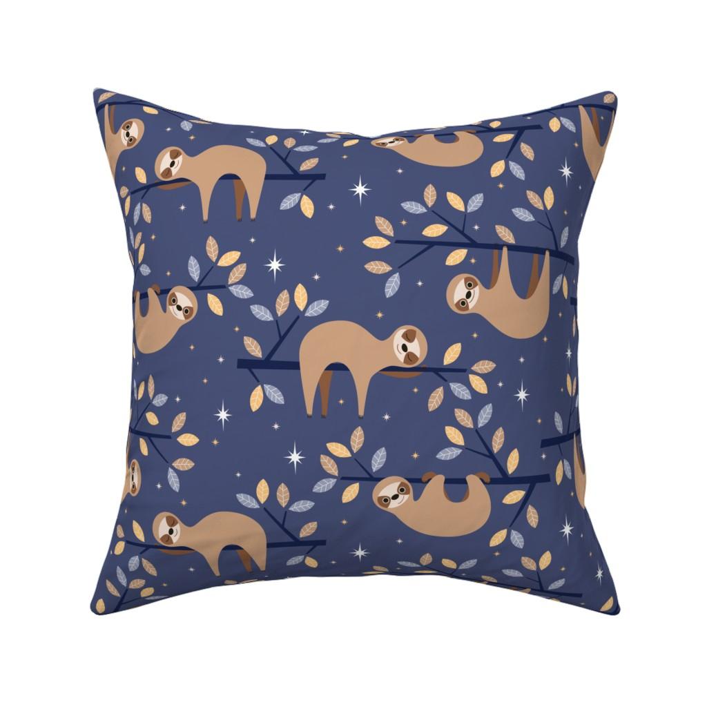 Catalan Throw Pillow featuring sleepy sloths by heleenvanbuul