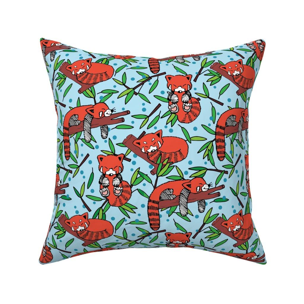 Catalan Throw Pillow featuring sleeping red pandas by lalaliz