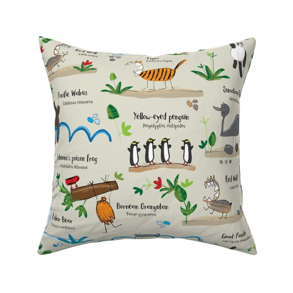 Catalan Throw Pillow featuring Endangered animals - Save the Tiger - on beige by cecca