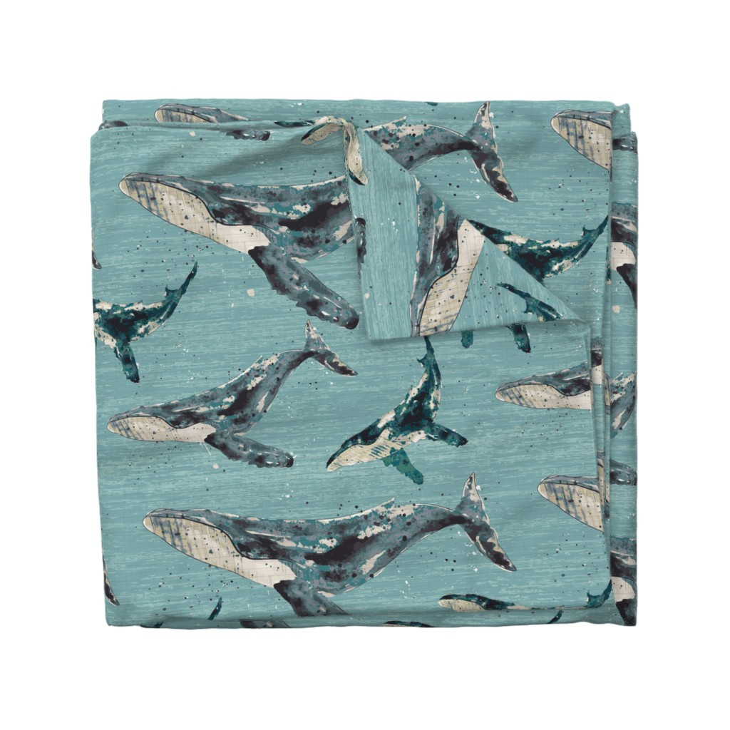 Wyandotte Duvet Cover featuring Blue Whale - Jumbo by sarah_treu