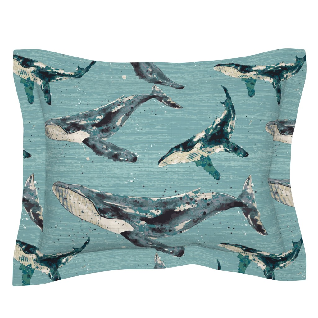 Sebright Pillow Sham featuring Blue Whale - Jumbo by sarah_treu